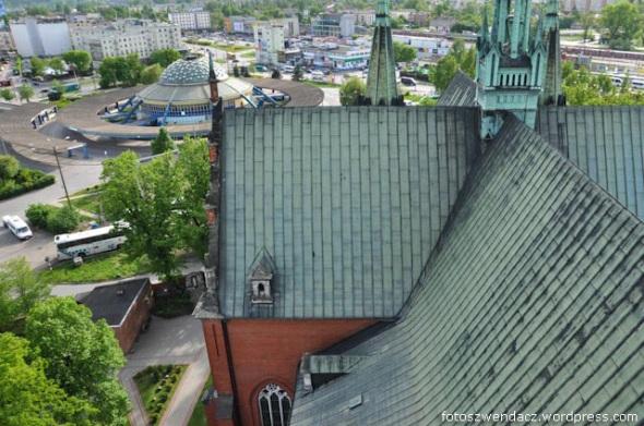 Kielce z wież kościoła Św Krzyża